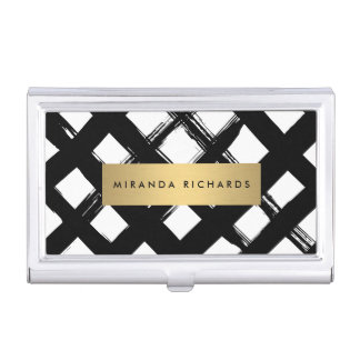 Luxe Bold Brushstrokes with Gold Bar Card Case Business Card Holders
