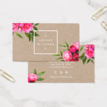 "Luxe Bold Watercolor Roses on Kraft Business Card<br><div class=""desc"">This luxurious design features a illustrations of bright pink/red watercolor roses with leaves overlapping a white frame holding your name or business name. The elegant design is double-sided to allow ample room for your contact info on the backside of the card. Perfect for creative professions such as stylists, fashion designers,...</div>"