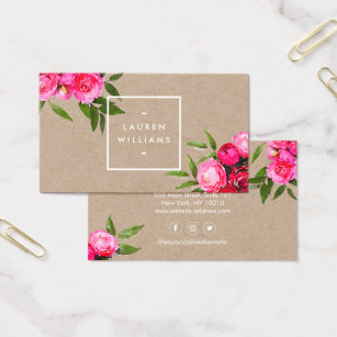 Etsy business cards templates zazzle luxe bold watercolor roses on kraft business card colourmoves Choice Image