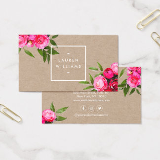 Luxe Bold Watercolor Roses on Kraft Business Card