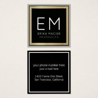 luxe chic black square pro square business card