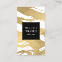 Luxe Faux Gold Brushstrokes Designer Business Card