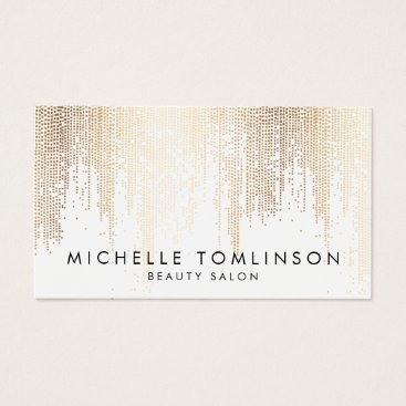 evented Luxe Faux Gold Confetti Rain Pattern Business Card