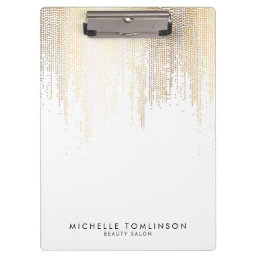 Luxe Faux Gold Confetti Rain Pattern Clipboard