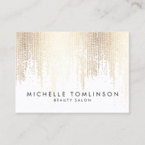 Luxe Faux Gold Confetti Rain Pattern Large Business Card