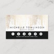 Luxe Faux Gold Confetti Rain Pattern Loyalty Card