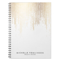 Luxe Faux Gold Confetti Rain Pattern Notebook
