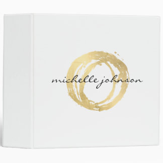 Luxe Faux Gold Painted Circle Designer Binder