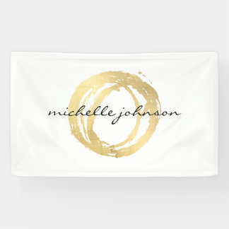 Luxe Faux Gold Painted Circle Designer Logo Banner