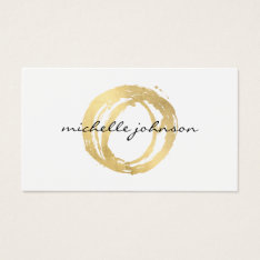Luxe Faux Gold Painted Circle Designer Logo Business Card at Zazzle