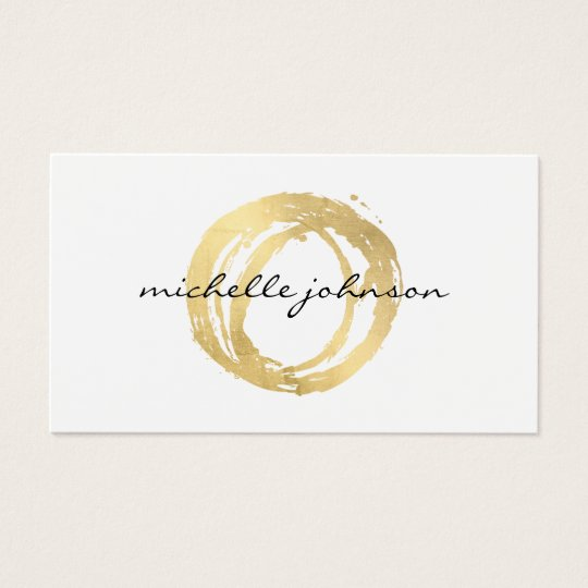 Genial Luxe Faux Gold Painted Circle Designer Logo Business Card
