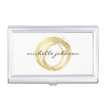 Luxe Faux Gold Painted Circle Designer Logo Business Card Holder