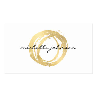 Luxe Faux Gold Painted Circle Designer Logo Double-Sided Standard Business Cards (Pack Of 100)