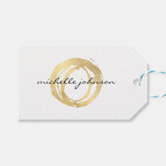 Luxe Faux Gold Painted Circle Designer Logo Gift Tags