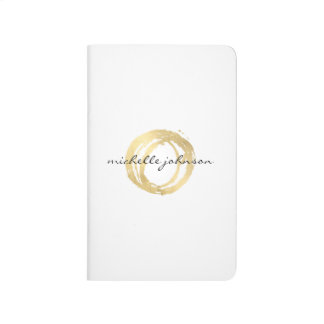 Luxe Faux Gold Painted Circle Designer Logo Journal