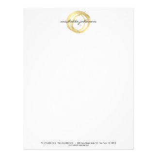Luxe Faux Gold Painted Circle Designer Logo Letterhead