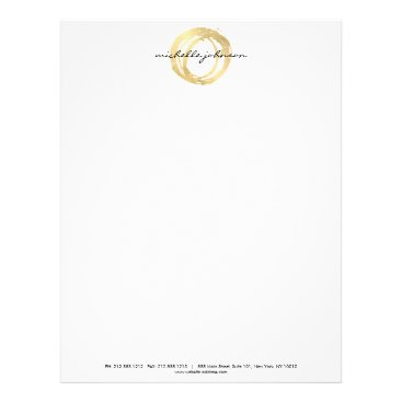 Luxe Faux Gold Painted Circle Designer Logo Letterhead