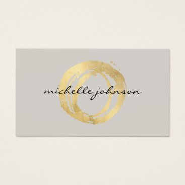 1201am Luxe Faux Gold Painted Circle Designer Logo on Tan Business Card
