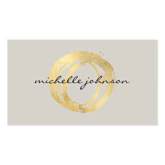 Luxe Faux Gold Painted Circle Designer Logo on Tan Double-Sided Standard Business Cards (Pack Of 100)