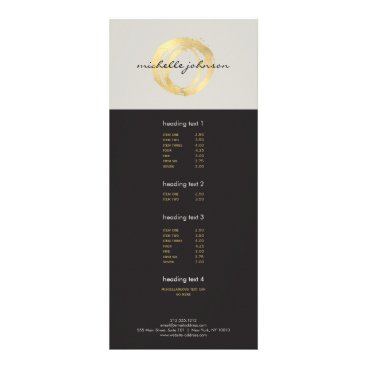 Luxe Faux Gold Painted Circle Designer Logo on Tan Rack Card