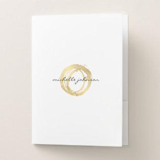 Luxe Faux Gold Painted Circle Designer Logo Pocket Folder