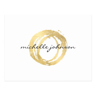 Luxe Faux Gold Painted Circle Designer Logo Postcard