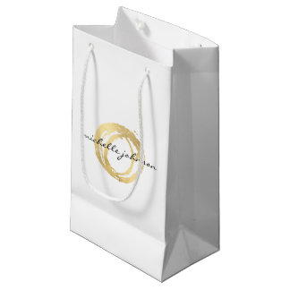 Luxe Faux Gold Painted Circle Designer Logo Small Gift Bag