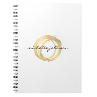 Luxe Faux Gold Painted Circle Designer Logo Spiral Notebook