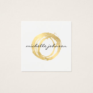 Luxe Faux Gold Painted Circle Designer Logo Square Business Card