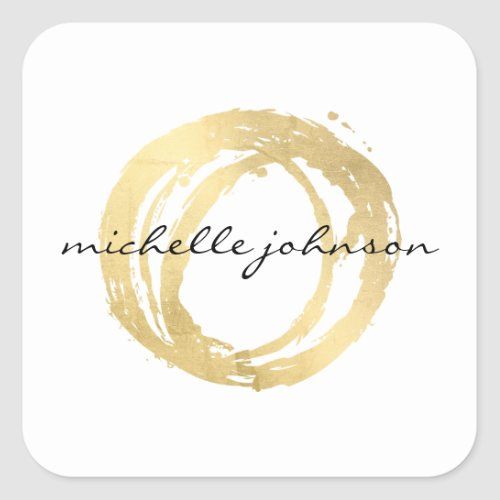 Luxe Faux Gold Painted Circle Designer Logo Square Sticker