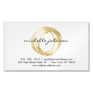 Luxe Faux Gold Painted Circle Designer Magnetic Business Card Magnet