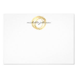 Luxe Faux Gold Painted Circle Flat Notecard