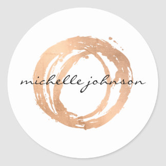 Luxe Faux Rose Gold Painted Circle Designer Logo Classic Round Sticker