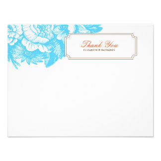 Luxe Floral Thank You Flat Notecard Blue & Orange Announcements