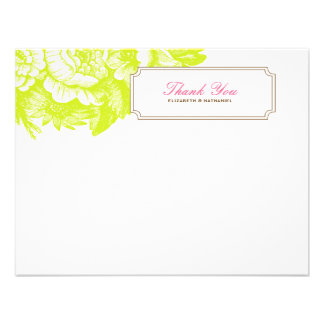 Luxe Floral Thank You Flat Notecard Green & Pink Personalized Announcement