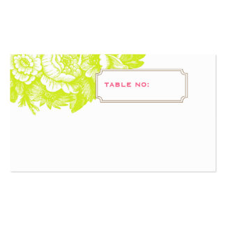 Luxe Floral Wedding Escort Card in Green & Pink Business Card Templates