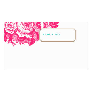 Luxe Floral Wedding Escort Card in Pink & Blue