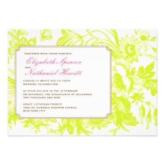 Luxe Floral Wedding Invitation in Green & Pink