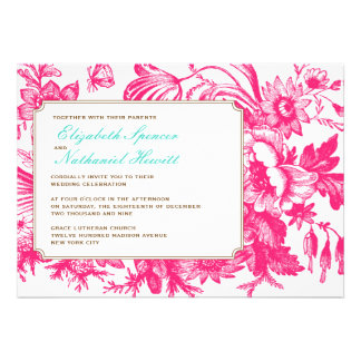 Luxe Floral Wedding Invitation in Pink & Blue