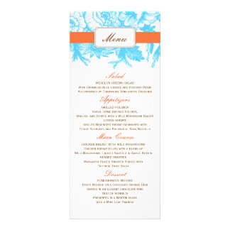 Luxe Floral Wedding Menu in Blue & Orange Personalized Invitations