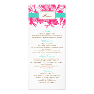 Luxe Floral Wedding Menu in Pink & Blue Invitations