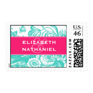 Luxe Floral Wedding Postage in Pink & Blue