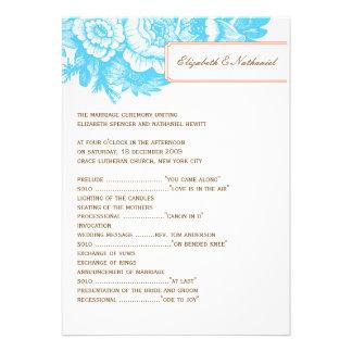 Luxe Floral Wedding Program in Blue & Orange Custom Invites