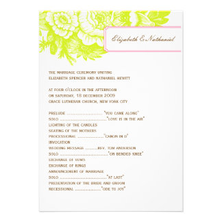 Luxe Floral Wedding Program in Green & Pink Invite