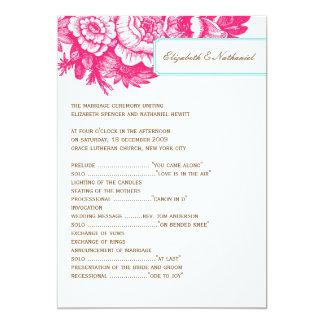 Luxe Floral Wedding Program in Pink & Blue Card