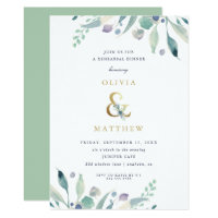 Luxe Floral Wedding Rehearsal Dinner Invitation