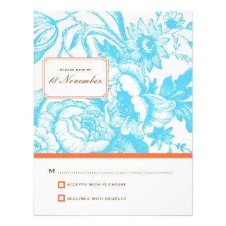 Luxe Floral Wedding RSVP in Blue & Orange Custom Invites