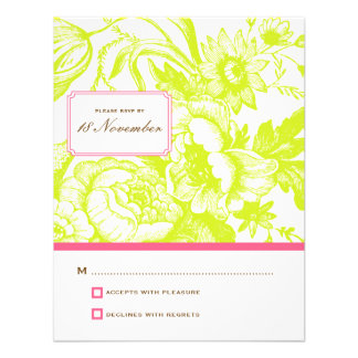 Luxe Floral Wedding RSVP in Green & Pink Custom Invites