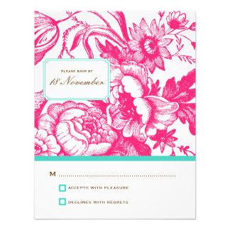 Luxe Floral Wedding RSVP in Pink & Blue Personalized Announcements