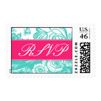Luxe Floral Wedding RSVP Postage in Pink & Blue
